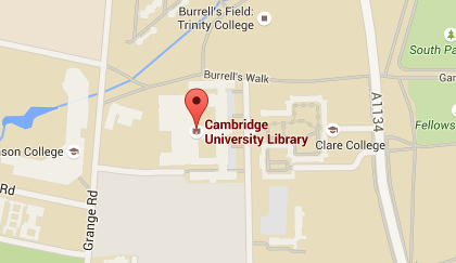Map showing the location of the University Library